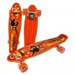 Penny board cu roti de silicon si lumini, Graphic Print, ABEC-7, PU, Aluminiu, HB3009-F, RCO®