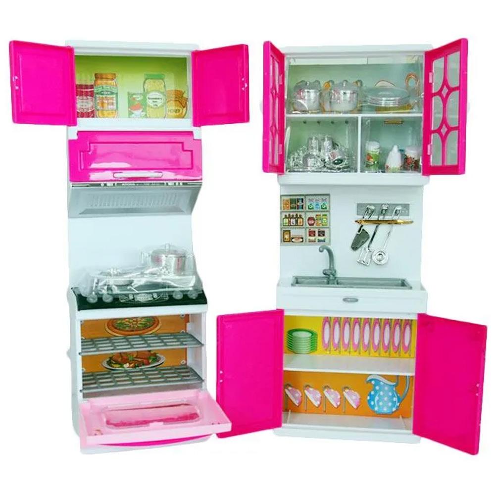 Set bucatarie moderna si electronica, pentru papusi si copii, din 2 corpuri si 30 de accesorii, 36x23cm KS 2004
