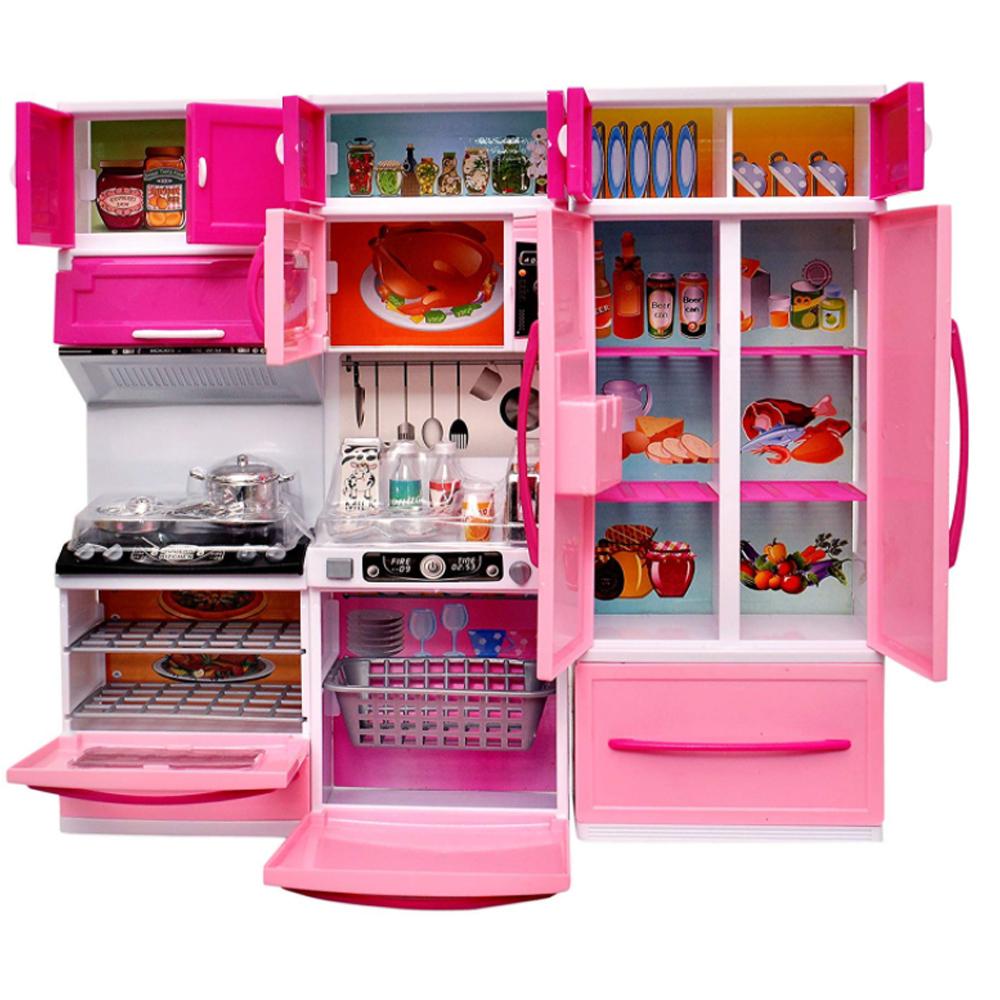 Set bucatarie moderna si electronica, pentru papusi si copii, din 3 corpuri si 20 de accesorii, 34x36cm KS 2005
