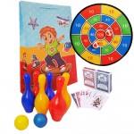 Set Dart cu tinta Velcro + 2 pachete de carti de joc + bowling pentru copii PAKSP6