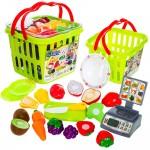 Set jucarii pentru copii cos cu fructe si legume de taiat, Super Market,15 piese VG 1009