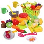 Set jucarii pentru copii cos cu fructe si legume de taiat, Super Market, 20 piese VG 1010 RCO®
