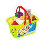 Set jucarii pentru copii cos cu fructe si legume de taiat, Super Market, 18 piese VG 1011 RCO®
