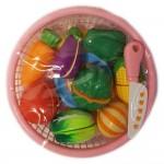 Set jucarii pentru copii cos tip mar cu legume de taiat, ,12 piese WP 3502-A
