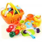 Set jucarii pentru copii cos cu fructe si legume de taiat, Super Market,14 piese WP 3504-A