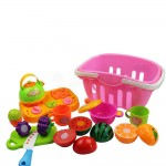 Set jucarii pentru copii cos cu fructe si legume de taiat, Super Market,14 piese WP 3504-B