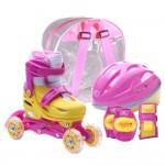 Set role reglabile pentru copii cu pozitionarea multipla a rotilor - Roz SS5001